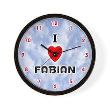 I Love Fabian (Red/Blk) Valentine Wall Clock