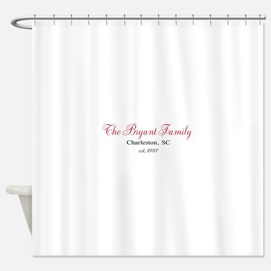 Personalizable Family Black Red Shower Curtain