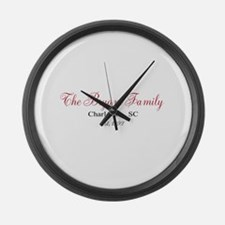 Personalizable Family Black Red Large Wall Clock