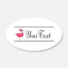Pink Flamingo Personalizable Black Script Oval Car