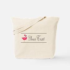 Pink Flamingo Personalizable Black Script Tote Bag