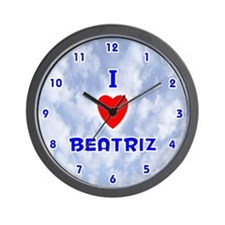 I Love Beatriz (Blue) Valentine Wall Clock