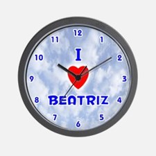 I Love Beatriz (Blue) Valentine Wall Clock