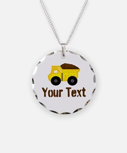 Personalizable Dump Truck Brown Necklace