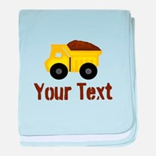 Personalizable Dump Truck Brown baby blanket