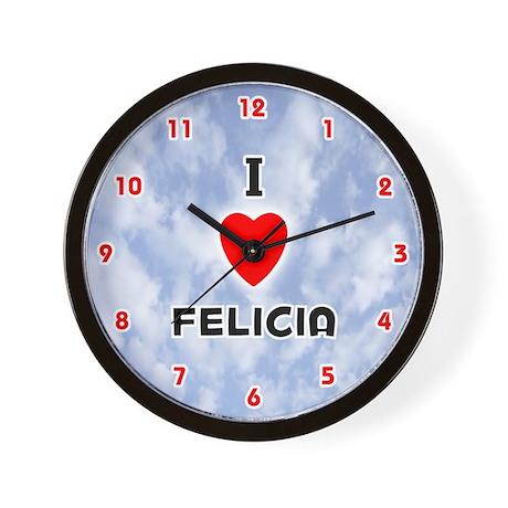 I Love Felicia (Red/Blk) Valentine Wall Clock