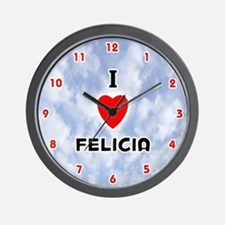 I Love Felicia (Red/Blk) Valentine Wall Clock