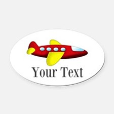 Personalizable Red and Yellow Airplane Oval Car Ma
