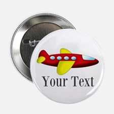 """Personalizable Red and Yellow Airplane 2.25"""" Butto"""