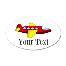 Personalizable Red and Yellow Airplane Wall Decal