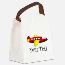 Personalizable Red and Yellow Airplane Canvas Lunc