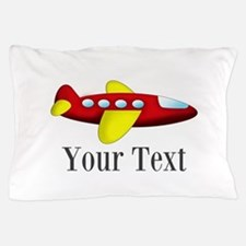 Personalizable Red and Yellow Airplane Pillow Case