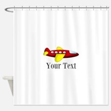 Personalizable Red and Yellow Airplane Shower Curt
