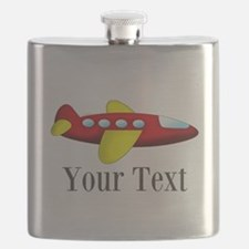 Personalizable Red and Yellow Airplane Flask