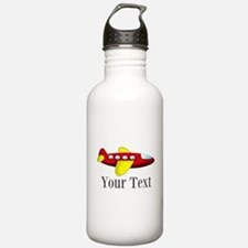 Personalizable Red and Yellow Airplane Water Bottl