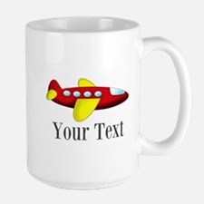Personalizable Red and Yellow Airplane Mugs