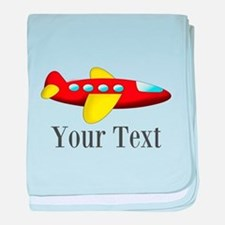 Personalizable Red and Yellow Airplane baby blanke