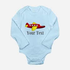 Personalizable Red and Yellow Airplane Body Suit