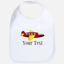 Personalizable Red and Yellow Airplane Baby Bib