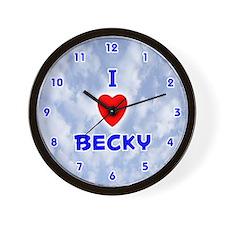 I Love Becky (Blue) Valentine Wall Clock