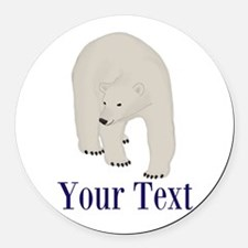Personalizable Polar Bear Round Car Magnet