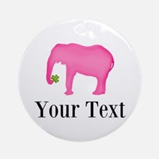 Personalizable Pink Elephant With Clover Round Orn
