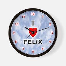 I Love Felix (Red/Blk) Valentine Wall Clock