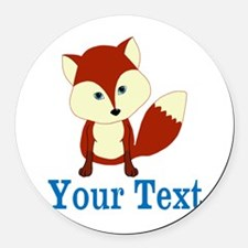 Personalizable Red Fox Round Car Magnet