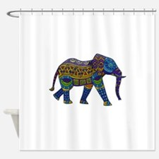 Blue Tribal Metallic Elephant Shower Curtain