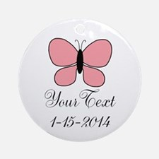 Pink Butterfly Personalizable Round Ornament