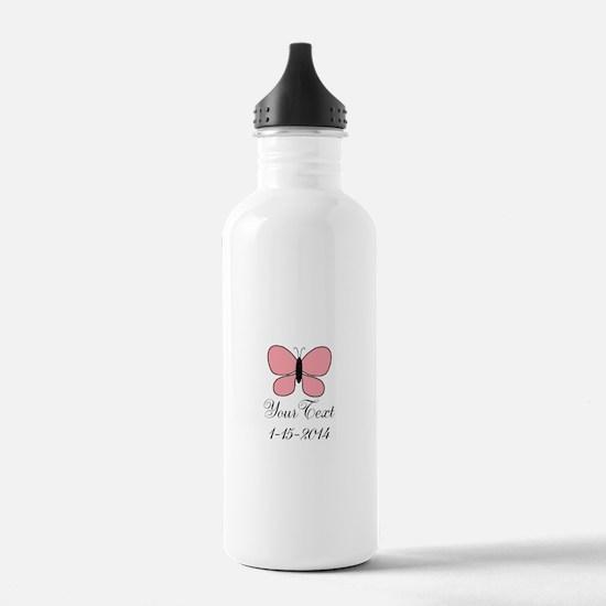 Pink Butterfly Personalizable Water Bottle