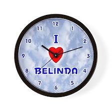 I Love Belinda (Blue) Valentine Wall Clock