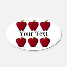 Personalizable Red Apples Oval Car Magnet