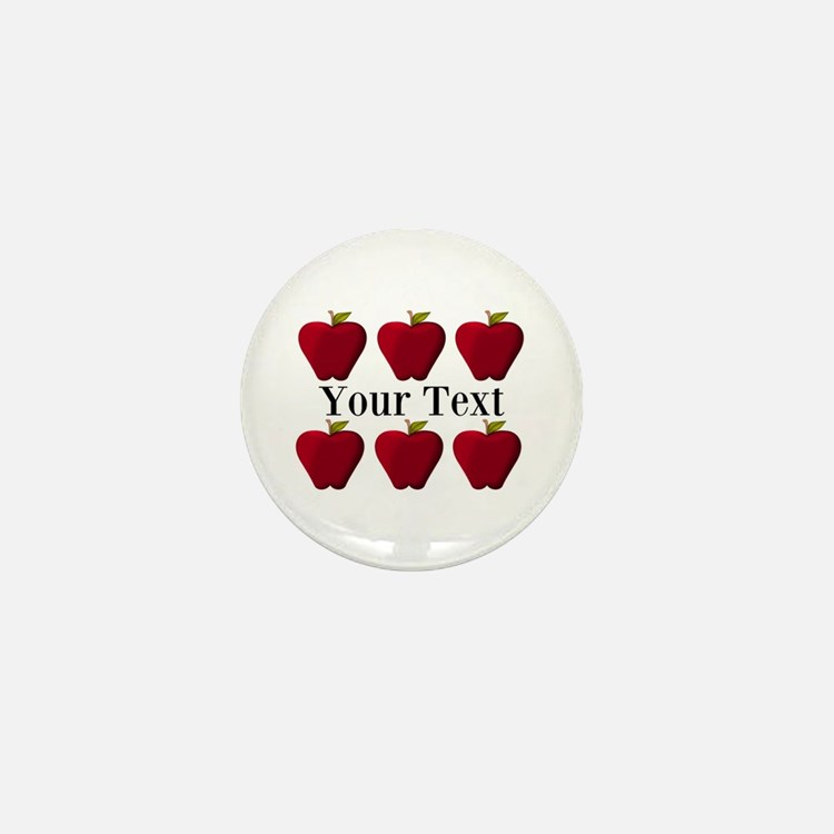 Personalizable Red Apples Mini Button