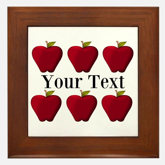 Personalizable Red Apples Framed Tile