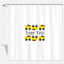 Personalizable Yellow Trucks Shower Curtain