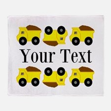 Personalizable Yellow Trucks Throw Blanket