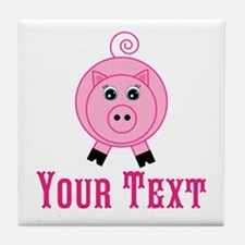 Personalizable Pink Pig Tile Coaster