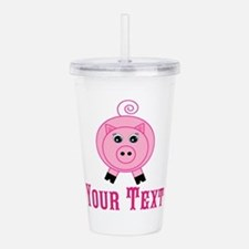 Personalizable Pink Pig Acrylic Double-wall Tumble
