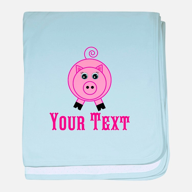 Personalizable Pink Pig baby blanket