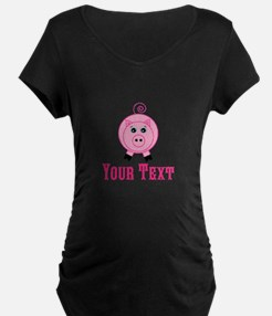 Personalizable Pink Pig Maternity T-Shirt