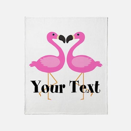 Personalizable Pink Flamingos Throw Blanket