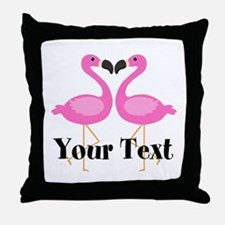 Personalizable Pink Flamingos Throw Pillow