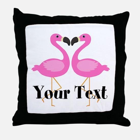 Personalizable Pink Flamingos Throw Pillow