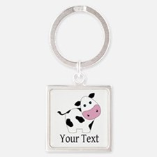 Personalizable Black and White Cow Keychains