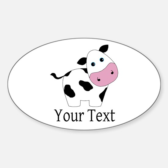 Personalizable Black and White Cow Decal