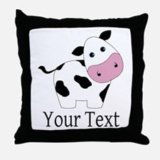 Personalizable Black and White Cow Throw Pillow