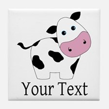 Personalizable Black and White Cow Tile Coaster