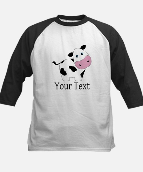 Personalizable Black and White Cow Baseball Jersey