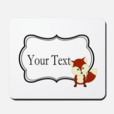 Personalizable Red Fox on Black Mousepad